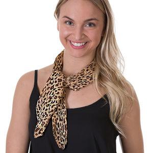 Leopard Pleated Chiffon Scarf, Beige - Hair scarf